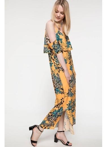 DeFacto Volan Detaylı Çiçek Desenli Askılı Elbise Sarı